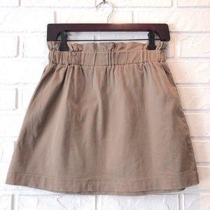 High waist tan beige cotton mini skirt paper bag S